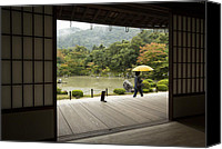 Raining Canvas Prints - Tenryu-ji temple garden view Canvas Print by Ruben Vicente