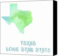 Maps Canvas Prints - Texas - Lone Star State - Map - State Phrase - Geology Canvas Print by Andee Photography