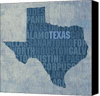 Austin Mixed Media Canvas Prints - Texas Word Art State Map on Canvas Canvas Print by Design Turnpike