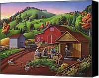 Crib Painting Canvas Prints - Thanksgiving Folk Art Corn Harvest farm Fairy Tale Landscape rural country life americana Canvas Print by Walt Curlee