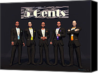 Walter Neal Canvas Prints - The 5 Gents Canvas Print by Walter Neal