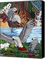 Embroidery Tapestries - Textiles Canvas Prints - The African Grey Parrots hand embroidery Canvas Print by To-Tam Gerwe