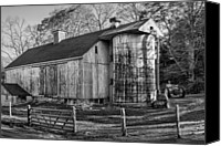 White Barns Canvas Prints - The Barnyard Canvas Print by Bill  Wakeley