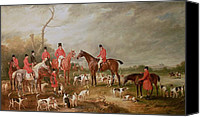 Featured Canvas Prints - The Birton Hunt Canvas Print by John E Ferneley