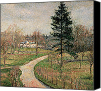 Hill Town Canvas Prints - The Chateau at Busagny Canvas Print by Camille Pissarro