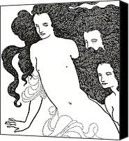Flowing Drawings Canvas Prints - The Comedy of the Rhinegold Canvas Print by Aubrey Beardsley