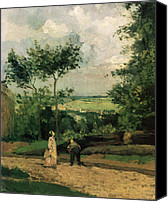 Featured Canvas Prints - The Courtyard at Louveciennes Canvas Print by Camille Pissarro