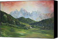 Slopes Painting Canvas Prints - The Dolomites Italy Canvas Print by Jean Walker
