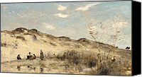 Slopes Painting Canvas Prints - The Dunes of Dunkirk Canvas Print by Jean Baptiste Camille Corot
