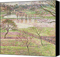 Featured Canvas Prints - The Flood at Eragny Canvas Print by Camille Pissarro