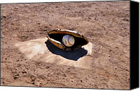 Baseball Mitt Canvas Prints - The Game Canvas Print by Bill Cannon