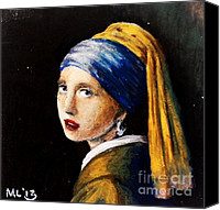 Featured Pastels Canvas Prints - The Girl with the Pearl Errings by Vermeer Canvas Print by Maria  Leah