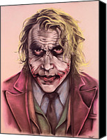 Evil Pastels Canvas Prints - The Joker Canvas Print by Brent Andrew Doty