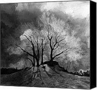 Grey Clouds Painting Canvas Prints - The lonely Grave Canvas Print by Stefan Kuhn