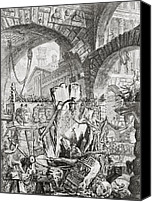 Architecture Drawings Canvas Prints - The Man on the Rack plate II from Carceri dInvenzione Canvas Print by Giovanni Battista Piranesi