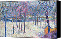 Featured Canvas Prints - The Orchard under the Snow  Canvas Print by Hippolyte Petitjean