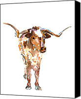 "\\\""texas Artist\\\\\\\"" Canvas Prints - The Original Texas Longhorn Stands Canvas Print by Kathleen McElwaine"