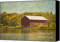 Foilage Canvas Prints - The Red Barn Canvas Print by Kim Hojnacki