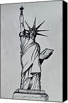 Featured Drawings Canvas Prints - The Statue of Liberty Sketch Canvas Print by Shruti Shubham
