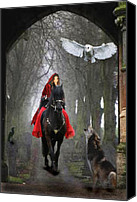 Horse Digital Art Canvas Prints - The Travellers Canvas Print by Angel Gold