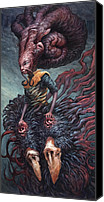 Creature Painting Canvas Prints - The Weary in the Well  Canvas Print by Ethan Harris