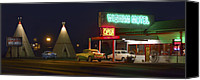 Lights Digital Art Canvas Prints - The Wigwam Motel On Route 66 Canvas Print by Mike McGlothlen
