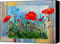 Orange Flower Painting Special Promotions - Three Big Poppies Canvas Print by Jamie Frier