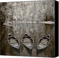 Debra And Dave Vanderlaan Canvas Prints - Three Old Canoes Canvas Print by Debra and Dave Vanderlaan