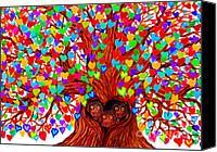 Nick Gustafson Canvas Prints - Three Owlets in the Tree of Hearts Canvas Print by Nick Gustafson