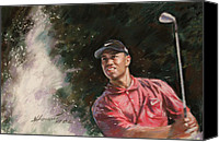 Woods Drawings Canvas Prints - Tiger Woods  Canvas Print by Viola El