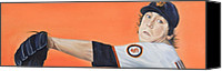 San Francisco Giants Painting Canvas Prints - Tim Lincecum Giants Canvas Print by Angela  Villegas