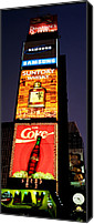 Urban Scenes Canvas Prints - Time Square Vertical Pano Canvas Print by Joann Vitali