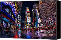 Still Life Tapestries Textiles Special Promotions - Times Square The City That Never Sleeps Canvas Print by Susan Candelario