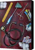 Neurosurgeon Canvas Prints - Tools of the Trade in Red - Nurse Canvas Print by Lee Dos Santos