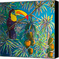 Featured Tapestries - Textiles Canvas Prints - Toucan Tango for Mango Canvas Print by Kelly  ZumBerge