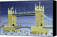 Signed Painting Canvas Prints - Tower Bridge Skating on Thin Ice Canvas Print by Judy Joel