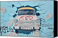Mauer Mixed Media Canvas Prints - Trabant on the Berlin Wall Canvas Print by Gynt