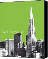 Pen And Ink Canvas Prints - Transamerica Pyramid Building Canvas Print by Dean Caminiti