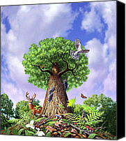 Woodpecker Canvas Prints - Tree of Life Canvas Print by Jerry LoFaro