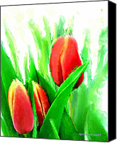 Plants Mixed Media Canvas Prints - Tulips Canvas Print by Moon Stumpp
