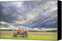 Angry Sky Canvas Prints - Turbo Tractor Country Evening Skies Canvas Print by James Bo Insogna