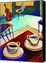 Frederick Luff Canvas Prints - Twilight Coffee Cafe Canvas Print by Luff  Gallery