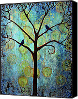 Black Birds Canvas Prints - Twilight Tree of Life Canvas Print by Blenda Tyvoll