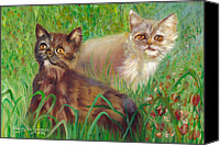 Brown Tiger Painting Canvas Prints - Two Kittens In A Poppy Meadow Canvas Print by Maria Pia Guarneri
