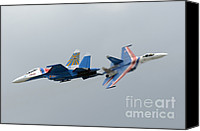 Featured Canvas Prints - Two Sukhoi Su-27 Flanker Of The Russian Canvas Print by Remo Guidi