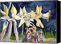 Fairies Drawings Canvas Prints - Under the Daffodils Canvas Print by Mindy Newman