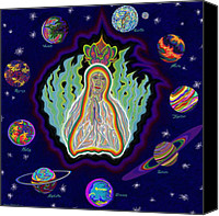 Queen Of Heaven Canvas Prints - United Planets of Virgin Mary Canvas Print by Robert  SORENSEN