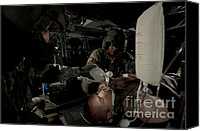Featured Canvas Prints - U.s. Army Medics Simulating Ventilation Canvas Print by Terry Moore