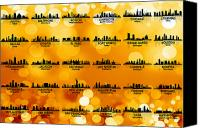 Austin Mixed Media Canvas Prints - USA Skylines 3 Canvas Print by Angelina Vick