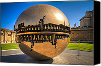 Golden Globe Canvas Prints - Vatican Garden Sphere Canvas Print by Erik Brede